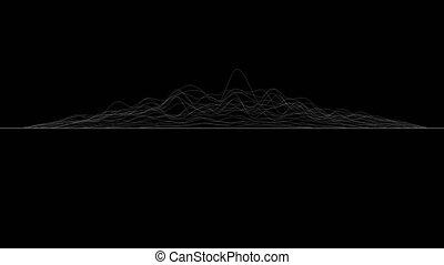 côté, déformé, vue., rendering., blanc, former, résumé, animation, surface, lignes, cg, arrière-plan., 3d, noir, boucle