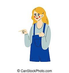 côté, deux mains, jeune, pointage, illustration, elle, faire gestes, vecteur, femme, forefingers, girl
