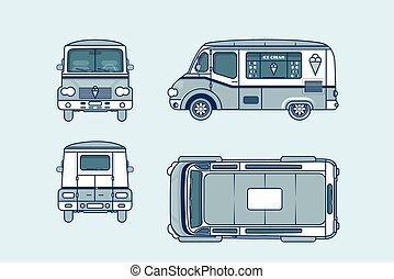 côté, dos, glace, devant, sommet, voiture, ligne, crème, style, roues, vue