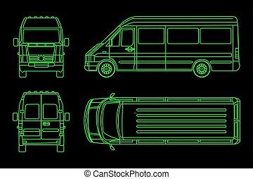 côté, linéaire, modèle, illustration, sombre, arrière-plan., dos, vecteur, camion, vue, front.