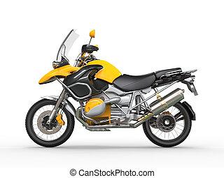 côté, -, motocyclette, jaune, vue