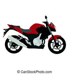 côté, motocyclette, vue