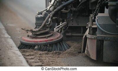 côté route, balayeur, machine, industriel, poussière, ...
