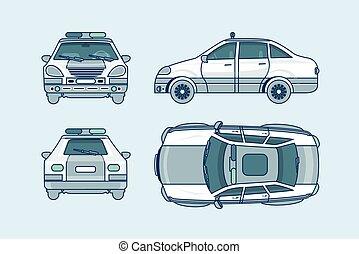 côté, surveiller voiture, dos, sommet, ligne, style, devant, vue