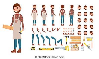 côté, tool., création, arrière affichage, set., caractère, gestures., poses, accessoires, bois, vector., plat, entiers, charpentier, illustration, atelier, émotions, dessin animé, travail, longueur, professionnel, animé, devant