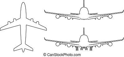 côté, vecteur, art, illustration., dos, avion, style., sommet, devant, vue., high-detailed, ligne