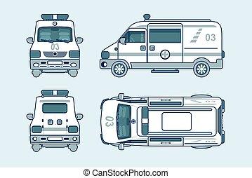 côté, voiture, dos, sommet, ambulance, ligne, style, devant, vue