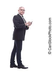 côté, vue., homme affaires, e-, sien, lecture, courrier, smartphone