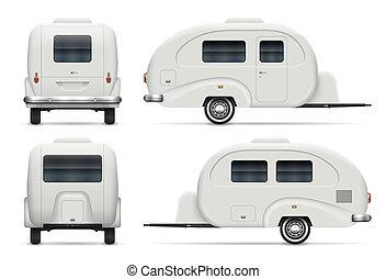 côté, vue, illustration, dos, caravane, vecteur, devant, camping car