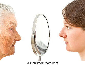 côtés, miroir, deux