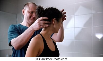 côtés, tournoiements, cou, chiropraxie, -, traitement, ...