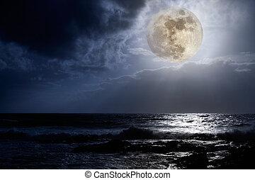 côte, est, pleine lune