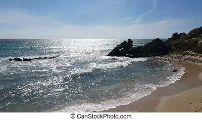 côte, mer, rocher