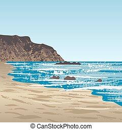 côte, océan, rocher