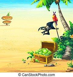 côte, perroquet, arbre, océan, paume, poitrine