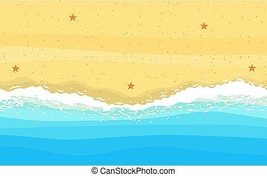 côte, sable, mer, océan