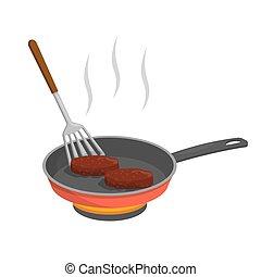 côtelette, cuisine, hamburger, friture, ou, moule, petit pâté