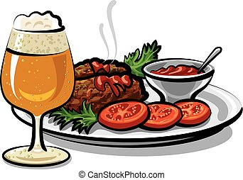 côtelettes, bière