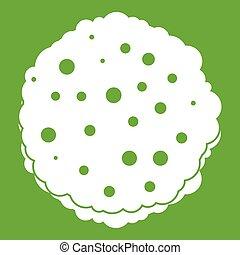 côtelettes, vert, icône