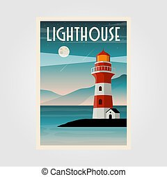 côtier, fond, vecteur, conception, illustration, phare, ...