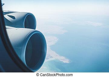 côtier, paysage, avion ligne, moteurs, jet