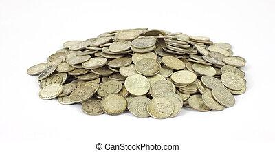 cölöp, öreg, ezüst, tízcentes