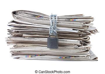 cölöp, hírlapok, bilincsbe ver