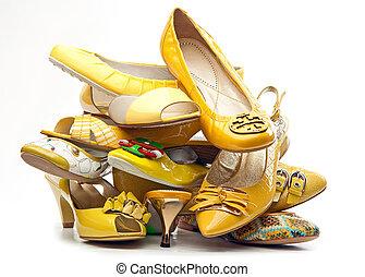 cölöp, női, izolál, cipők, sárga