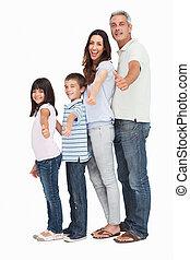 CÙte, arquivo, família, cima, único,  câmera, polegares, fundo, Retrato, branca