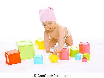 CÙte, bunte, Viele, Spielzeuge,  baby, Porträt, spielende