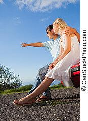 CÙte,  cabriolet, seduta, Automobile, coppia, allegro, loro, cappuccio
