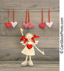 CÙte, Coração,  valentines, decoração, menina, Dia, vermelho