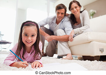 CÙte, dela, pais, fundo, menina, desenho