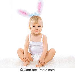 CÙte, doce, traje, bebê, Páscoa, coelhinho