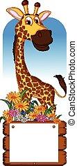 Bambino carino cornice giraffa vettore illustrazione - Cartone animato giraffe immagini ...