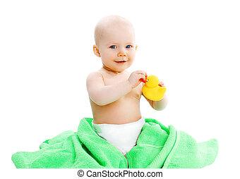 CÙte, handtuch, gelber, Gummi, Ente,  baby, spielende