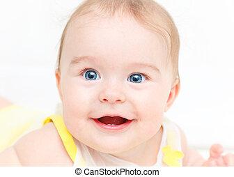 CÙte, Lächeln, Freigestellt,  baby, weißes, m�dchen