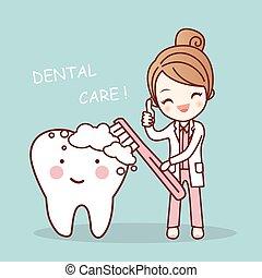 CÙte, odontólogo, escova, caricatura, dente