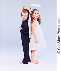 CÙte, pequeno, diabo, crianças, anjo