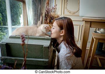 CÙte, pequeno, menina, gato