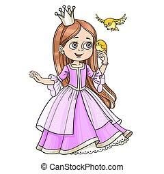 CÙte, poco, prese, isolato, lungo, principessa, capelli,...