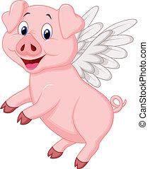CÙte, przelotny, rysunek, świnia