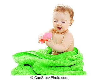 CÙte, spielzeug, handtuch, Gummi,  baby, spielende