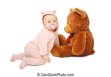 CÙte,  teddy, groß, bär, hintergrund,  baby, weißes, spielende