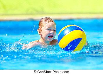 CÙte, Wasser, Spiele,  Sport, spielende, Teich, Kind