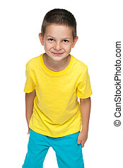 CÙte, wenig, männerhemd, gelber, Junge