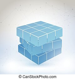 cúbico, constructed, de, muchos, bloques