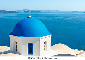 cúpula azul, oia, griego, santorini, iglesia