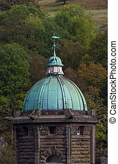 cúpula cielo, verdigris, cobre, verde, cupula, oscuro