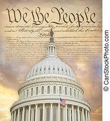 cúpula, constitución, capitol de los e.e.u.u